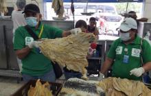 No es extraña esta imagen en los puntos de venta de pescado en la ciudad.