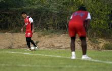 Domínguez y Toloza durante la práctica del martes.