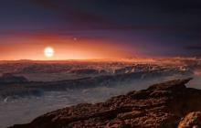 Ilustración de la superficie del planeta Próxima b.