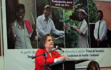 La ministra de Trabajo, Clara López Obregón, en el lanzamiento de la campaña.
