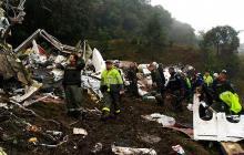 Escena que dejó el accidente del vuelo de LaMia.