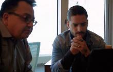 Maluma reunido con Alex Hernandez, director del Festival de Viña del Mar.