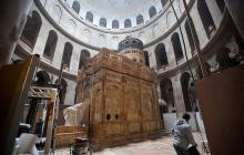 Imagen de la tumba de Jesucristo en la Iglesia del Santo Sepulcro en la Ciudad Vieja de Jerusalén.