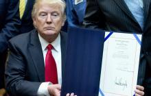 El presidente Donald Trump durante un acto oficial.
