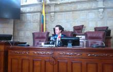 El senador Juan Manuel Galán, durante la rueda de prensa sobre la cannabis.