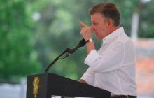 El presidente Juan Manuel Santos durante su intervención en San Juan Nepomuceno, Bolívar.