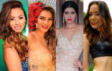 La señorita Córdoba, Laura Cerón Salgado, junto a las representantes de Sucre, Valeria Herazo Martínez; La Guajira, María Angélica Rey Tamayo y Cesar, Eliana Montes lago.