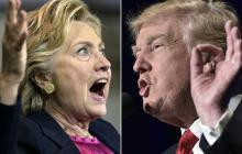 La excandidata Hillary Clinton y el presidente Trump.