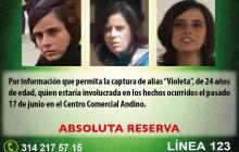 Atentado al Andino: Policía ofrece $20 millones por 'Violeta'