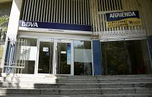 Sucursal de Banco BBVA donde fue abatido un delincuente.