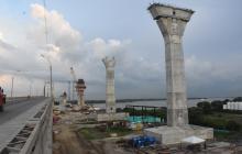 Estado actual de los pilotes del nuevo Puente Pumarejo.