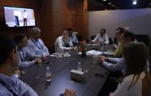 El ministro de Transporte, Germán Cardona, en la reunión con los directivos de la firma Sacyr.