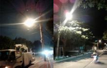 Reparan daños en alumbrado de vía del barrio Paraíso