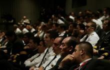 Aspecto de la audiencia pública por el paro de pilotos de Avianca en el tribunal Superior de Bogotá.