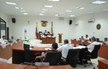 Aspecto de la sesión del concejo realizada hoy.