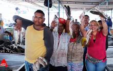Un grupo de comerciantes exhibe el producto.