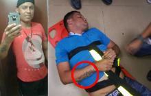 Levith Aldemar Rúa Rodríguez, el expolicía capturado. En el círculo, el tatuaje por el que fue identificado.