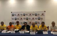 Los dirigentes de Sintracarbón en rueda de prensa.