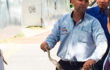 Habitante del sector en el momento que cazó una de las serpientes.