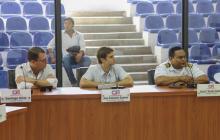 (De izquierda a derecha) René Puche, presidente de Puerto de Barranquilla; Alfredo Carbonell, director de Asoportuaria ,y el capitán Germán Escobar, durante la sesión.