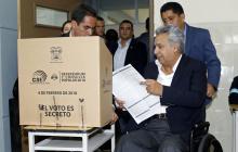 El presidente de Ecuador, Lenin Moreno, durante la jornada de referendo.
