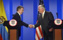 El presidente Juan Manuel Santos y el secretario de Estado de EEUU, Rex Tillerson.