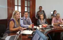La presidente de la Cámara de Comercio de Barranquilla, María José Vengoechea, en rueda de prensa.