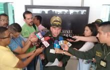 El coronel Hugo Molano, en rueda de prensa de este lunes.