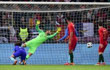 Acción de gol de Holanda en el juego.