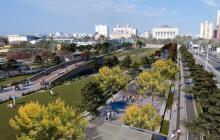 Panorámica aérea del render de lo que será la ampliación de la Plaza de la Paz.