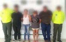 Cuatro de las personas capturadas por tráfico de estupefacientes.