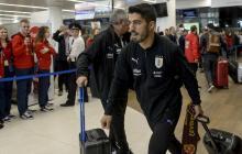 Luis Suárez llegando a Rusia con su selección.