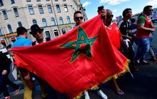 Un aficionado con la bandera de Marruecos.