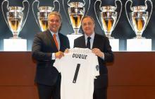Duque, con la camiseta #1 del Real Madrid