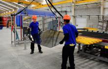 Trabajadores de la empresa Tecnoglass de Barranquilla.