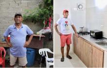 Uno de los beneficiados muestra el antes y el después de los trabajos en su casa.c