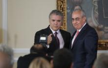 El presidente Duque y el director de la UNP, Pablo Elías González.