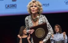 Jane Fonda en la entrega del premio en Lyon.