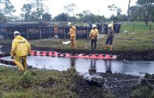 Contingencia en el oleoducto Caño Limón Coveñas luego de que se presentara un atentado contra la línea de conducción en Cubará.