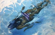 Las piscinas, el color azul y las figuras femeninas priman en 'Aquazul'.