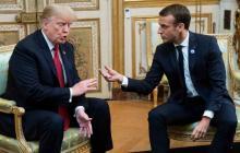 Trump y Macron en la sesión de fotos para la prensa en París.