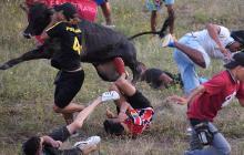 """Varios jóvenes """"mantean al toro"""" en medio del ruedo de la corraleja en Juan de Acosta."""