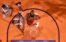 James Harden en acción con los Houston Rockets.
