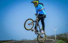 La bicicrosista barranquillera Sharid Fayad en la pista Daniel Barragán.