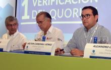 Juan M. Caicedo, Eduardo Verano y Héctor Carbonell en la asamblea de la CCI.