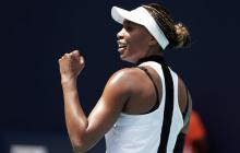 Venus Williams celebra el triunfo sobre Carla Suárez.