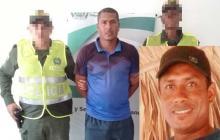 Rafael Segundo Julio fue mostrado a la prensa este lunes. En el recuadro, Juan Camilo, la víctima mortal.