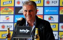 Carlos Queiroz durante la rueda de prensa realizada este miércoles en Bogotá.