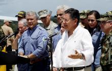 El ministro Guillermo Botero, el presidente Iván Duque y el fiscal Néstor H. Martínez, en una visita al sur del país.