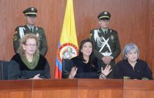 Presidentas del Consejo de Estado, Lucy Bermúdez; la Corte Constitucional, Gloria Ortiz, y la JEP, Patricia Linares, durante el debate de la reforma política el día de ayer.